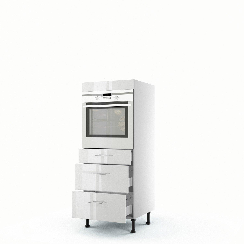 Meuble de cuisine demi colonne blanc four 3 tiroirs rio x x cm leroy merlin - Meuble colonne de cuisine ...