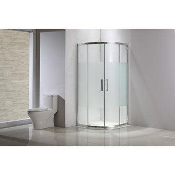 Porte de douche coulissante, angle 1/4 de cercle, 90 x 90 cm, sérigraphié, Quad