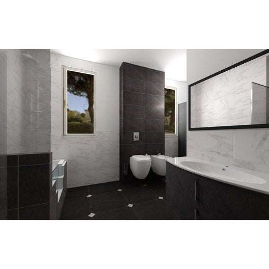 carrelage sol et mur noir effet marbre murano x cm leroy merlin. Black Bedroom Furniture Sets. Home Design Ideas