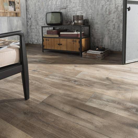 Carrelage sol et mur brun fonçé effet bois Heritage l.20 x L.80 cm ...