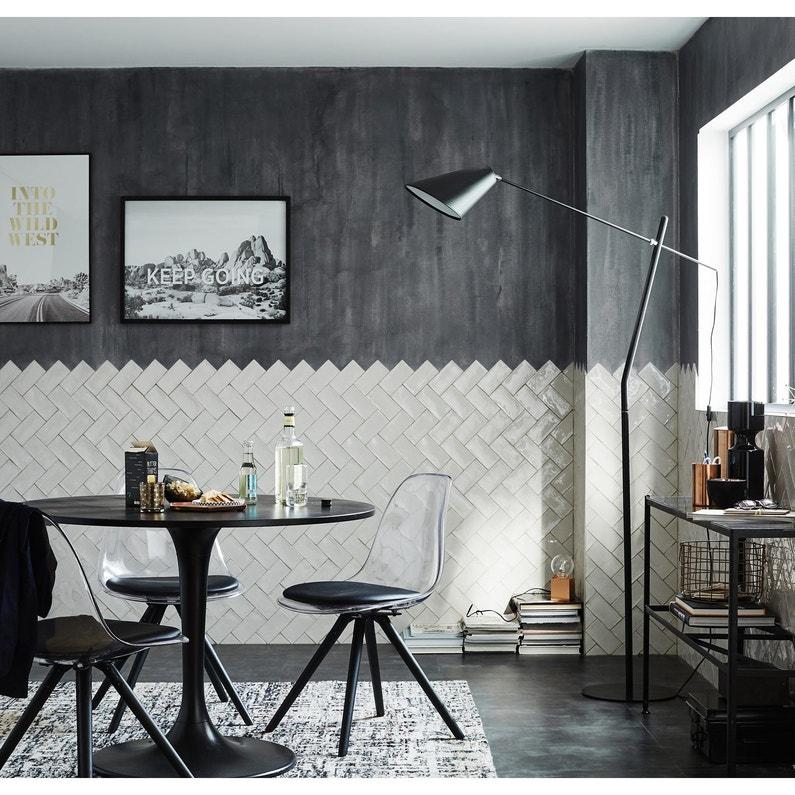Faïence mur gris clair brillant l.7.5 x L.15 cm, Bakerstreet