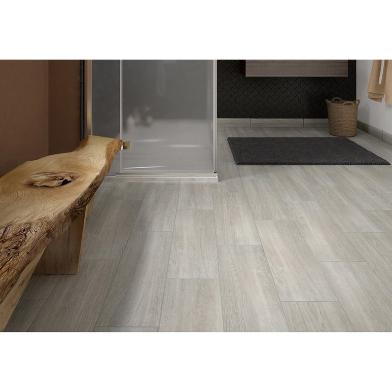 Carrelage sol et mur intenso effet bois gris perle Helsinka l.20 x L ...