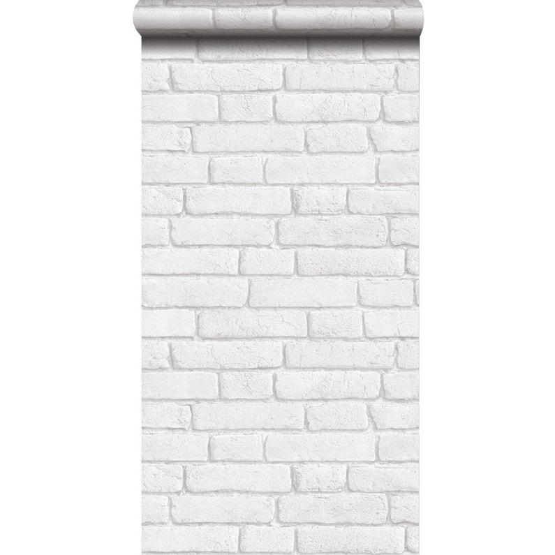Brique Blanche papier peint intissé briques anciennes blanc | leroy merlin