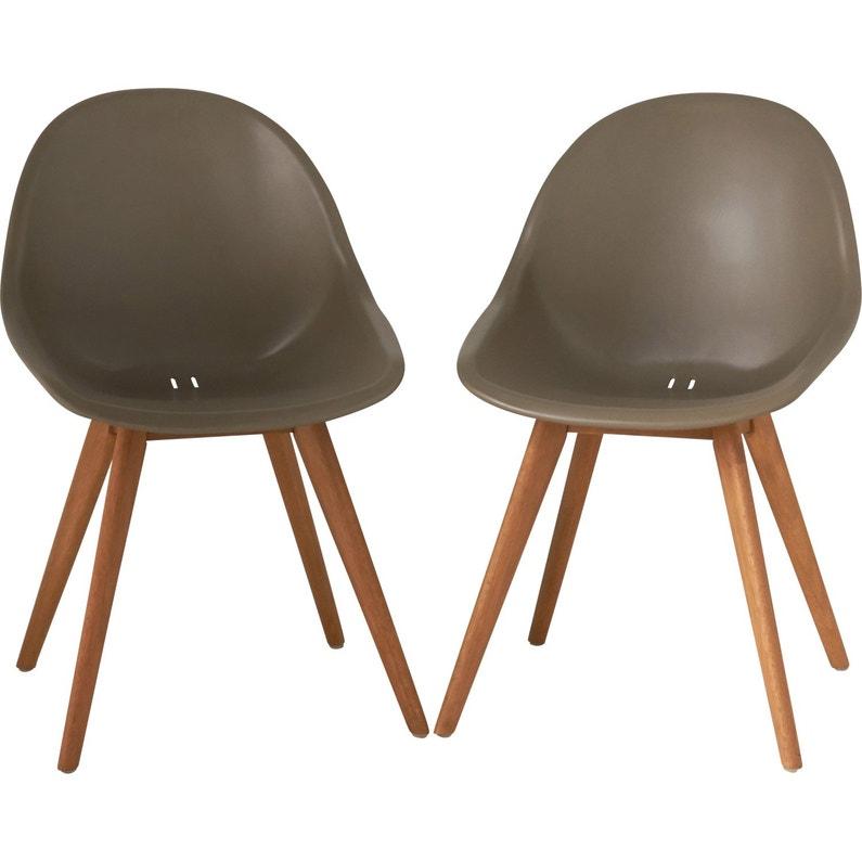 f6111402b783f3 Lot de 2 chaises en résine injectée St tropez taupe   Leroy Merlin