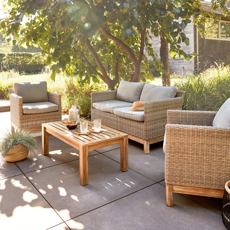 Salon de jardin bas en résine tressée et bois | Leroy Merlin