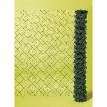 Grillage rouleau simple torsion vert, H.1 x L.20 m, maille H.50 x l.50 mm