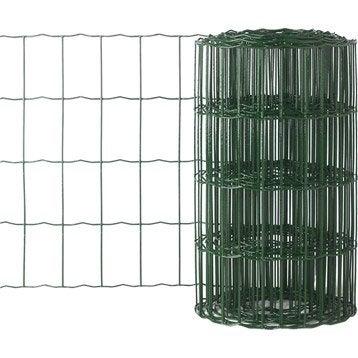 Bordure grillagée soudé vert, H.0.4 x L.10 m, maille H.100 x l.63 mm
