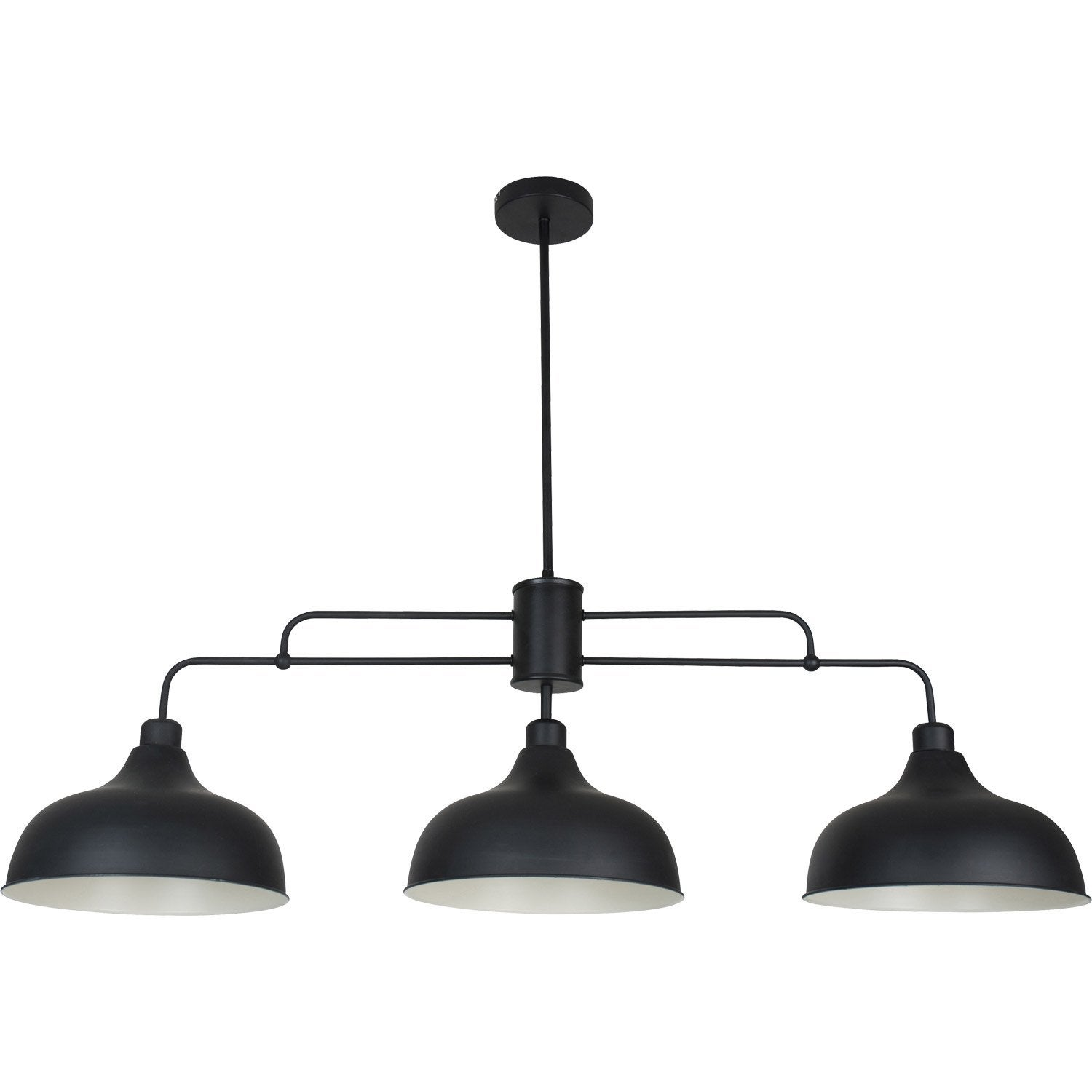 Suspension e27 style industriel lincoln m tal noir 3 x 40 for Suspension triple luminaire