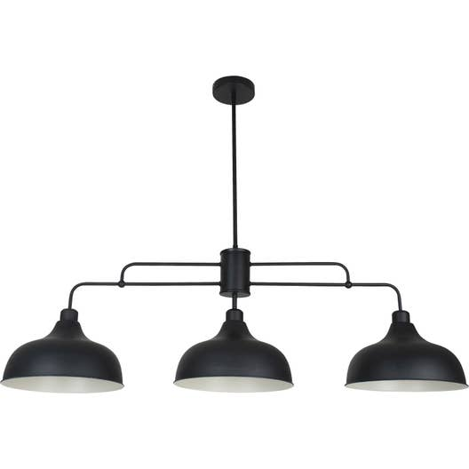Suspension e27 style industriel lincoln m tal noir 3 x 40 w corep leroy merlin - Suspension bar cuisine ...