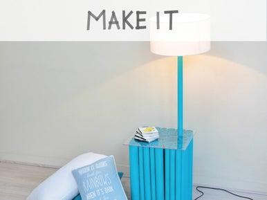 diy d tourner des tuyaux pvc en table de chevet leroy. Black Bedroom Furniture Sets. Home Design Ideas