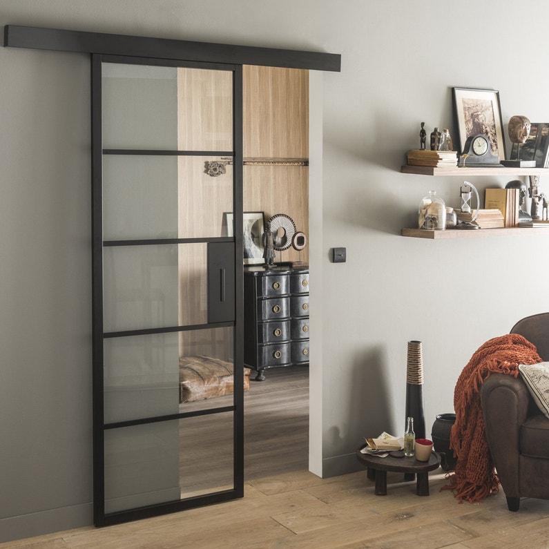 une porte coulissante style industriel leroy merlin. Black Bedroom Furniture Sets. Home Design Ideas