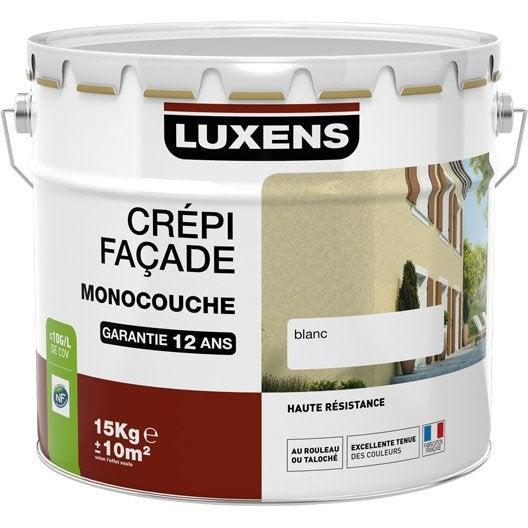 Cr pis fa ade luxens blanc 15 kg leroy merlin for Prix crepi facade exterieur