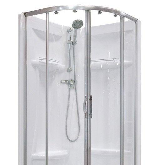 Cabine de douche salle de bains leroy merlin - Cabine de douche quart de cercle 90x90 ...