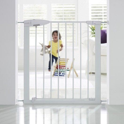 Barrière de sécurité enfant MUNCHKIN portillon semi-auto métal blanc, L.73 /79cm
