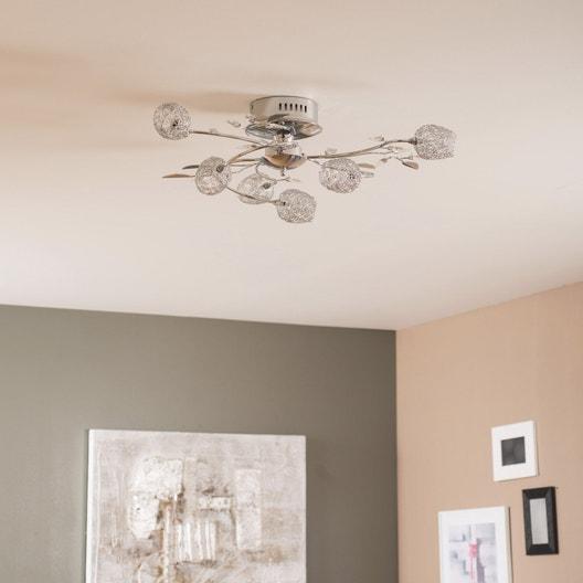plafonnier design g4 adriana m tal chrom 6 x 20 w seynave leroy merlin. Black Bedroom Furniture Sets. Home Design Ideas
