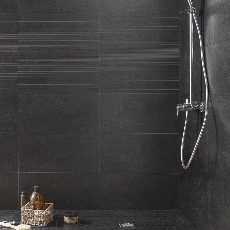 Carrelage sol et mur noir, Trésor l.29.7 x L.59.5 cm | Leroy Merlin