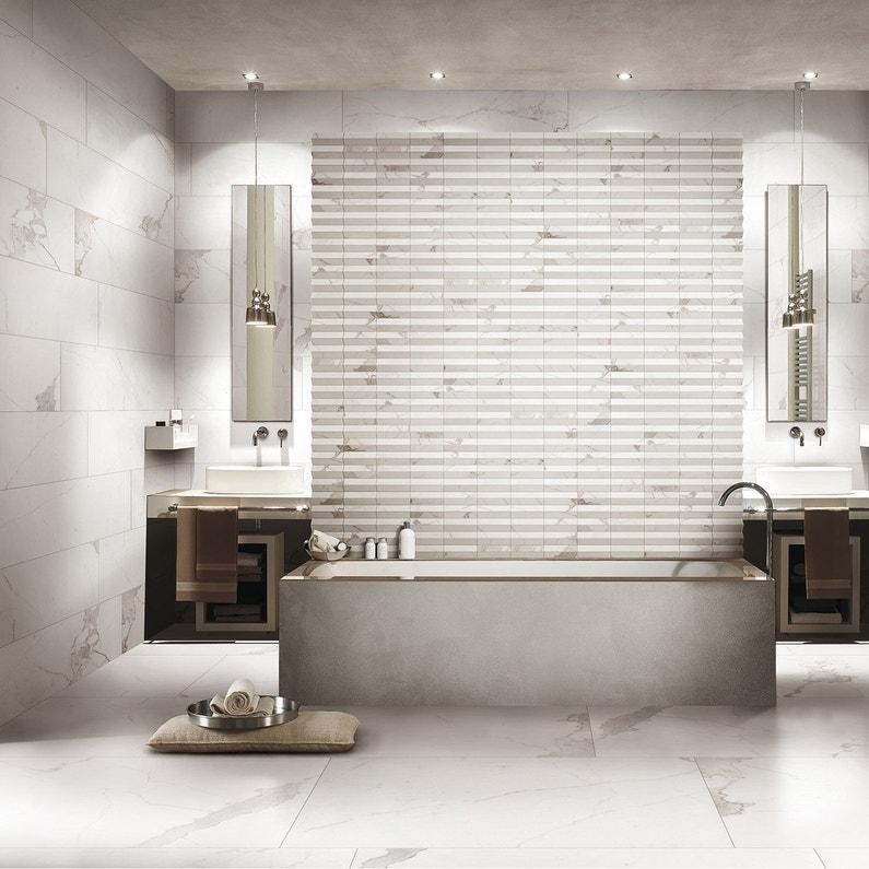 Carrelage Sol Et Mur Blanc Effet Marbre Rimini L60 X L120 Cm