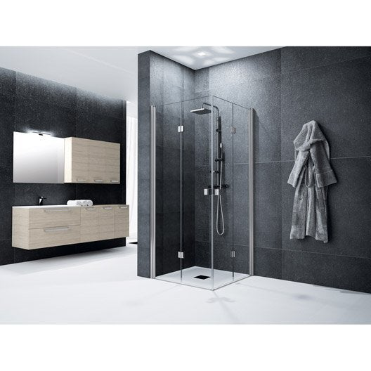 Porte de douche pivot pliante angle carr 100 x 100 cm for Porte de douche pliante