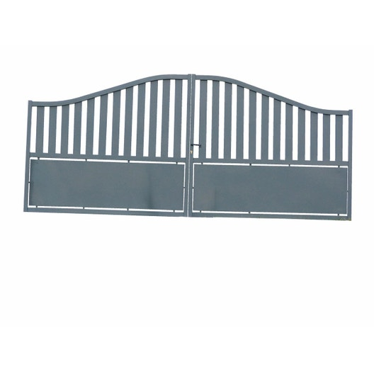 portail battant aluminium millau gris l400 x h120 cm