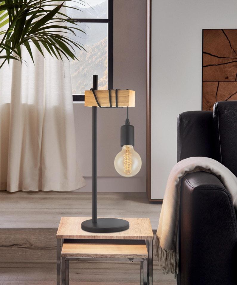 Lampe Industriel Métal Noir Eglo Townshend
