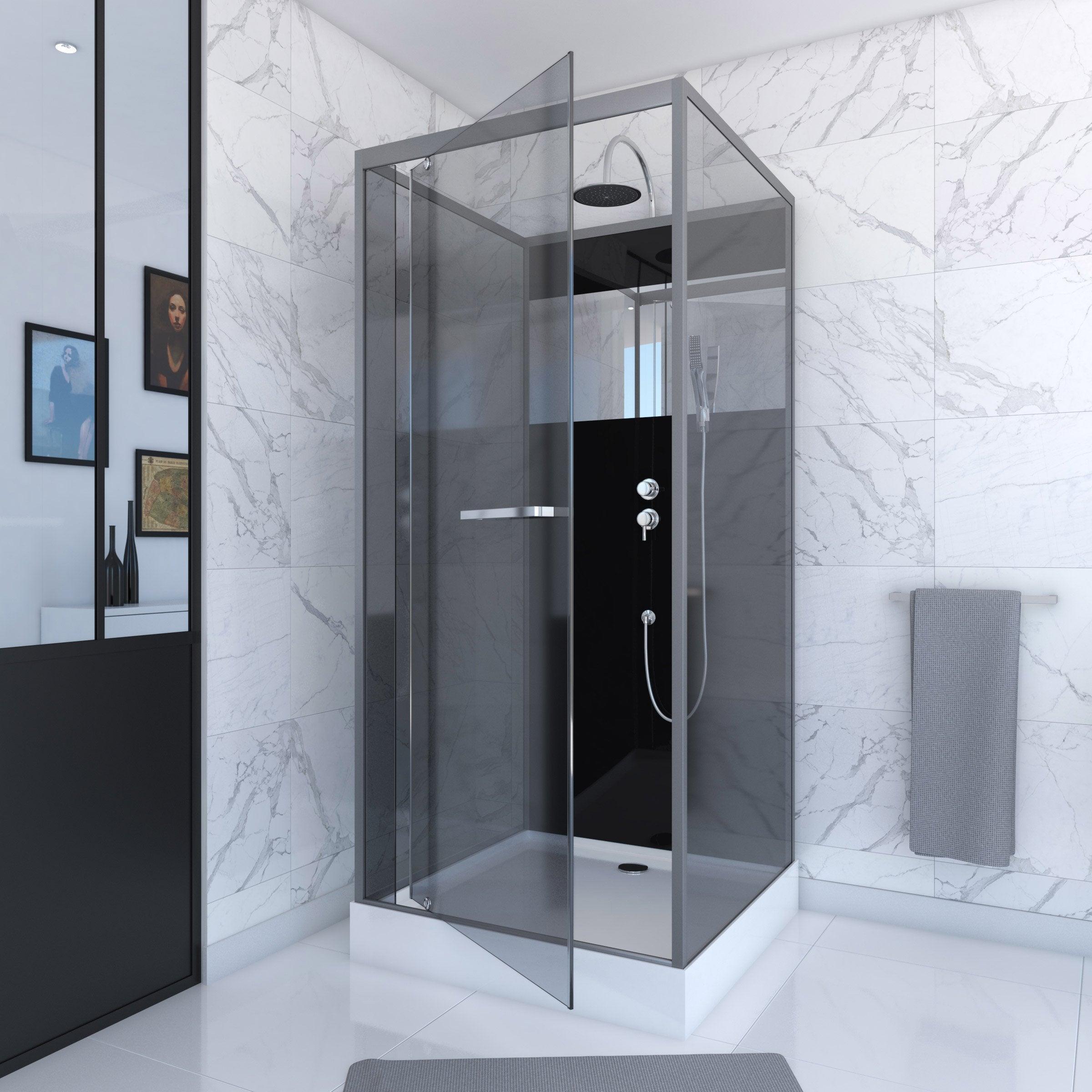 cabine de douche carré l90 x l90 cm reflect  leroy merlin