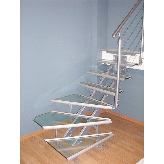 Escalier quart tournant escatwin structure aluminium marche verre leroy merlin - Type d escalier interieur ...