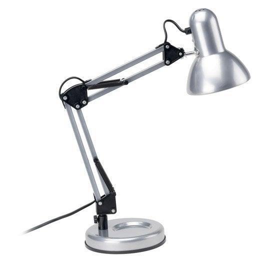 Lampe de bureau poser gris argent techno leroy merlin - Lampe a poser leroy merlin ...
