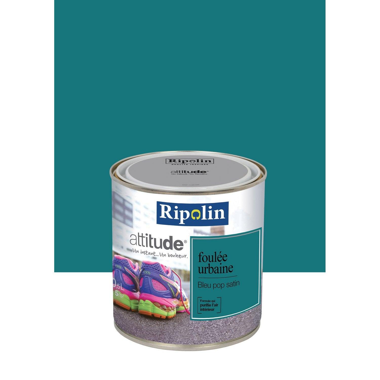 peinture bleu pop satin ripolin attitude foul e urbaine 0 5 l leroy merlin. Black Bedroom Furniture Sets. Home Design Ideas