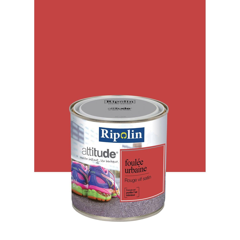 peinture rouge vif satin ripolin attitude foul e urbaine 0 5 l leroy merlin. Black Bedroom Furniture Sets. Home Design Ideas