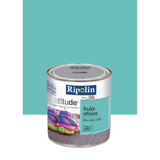 peinture bleu n on ripolin attitude foul e urbaine 0 5 l leroy merlin. Black Bedroom Furniture Sets. Home Design Ideas