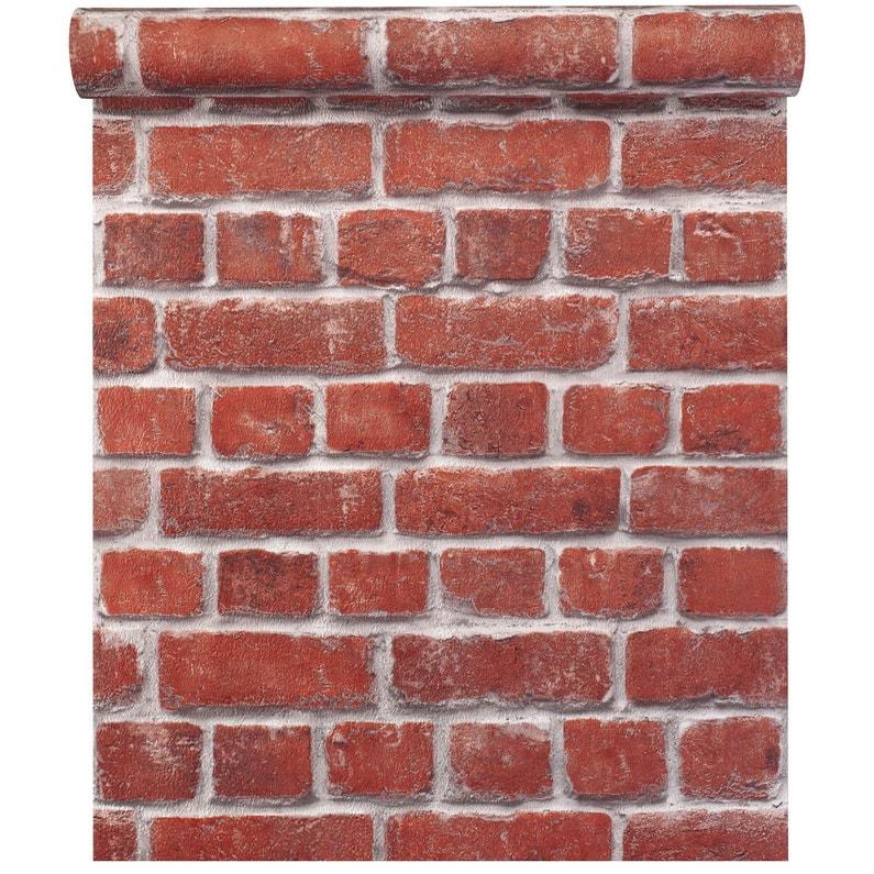 Papier Peint Concept Bricks Orange Leroy Merlin