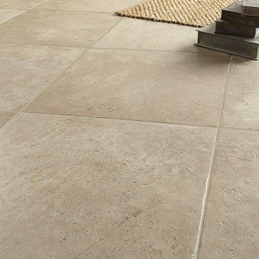 Carrelage sol et mur beige effet pierre tesalia x l for Carrelage pour sol interieur