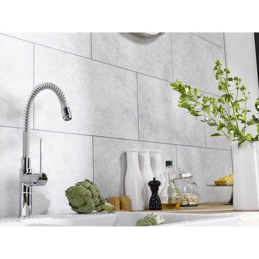 Dalle murale pvc blanc dumaplast dumawall x cm - Credence salle de bain leroy merlin ...