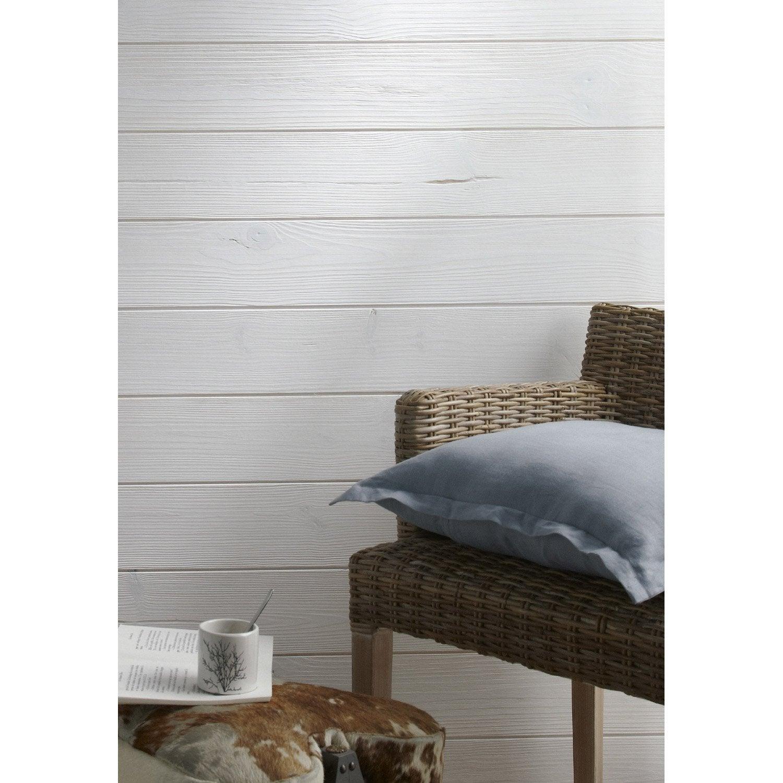 lambris sapin bross blanc artens x cm mm leroy merlin. Black Bedroom Furniture Sets. Home Design Ideas