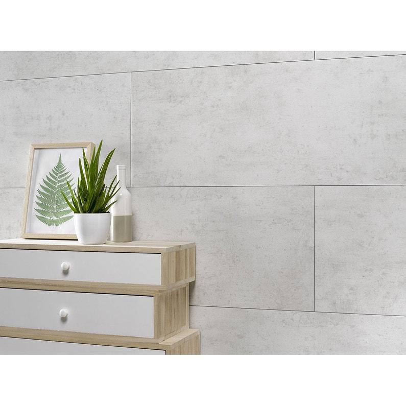 Dalle Murale Pvc Ciment Blanc Dumawall L 120 X L 37 5 Cm X Ep 5 Mm