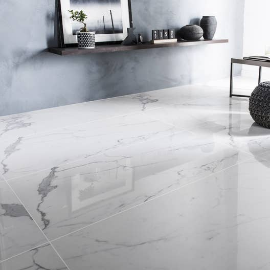 Carrelage sol et mur blanc effet marbre rimini x cm leroy merlin for Carrelage blanc brillant sol