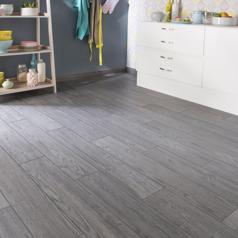 carrelage sol et mur gris foncé effet bois islande l.15 x l.90 cm