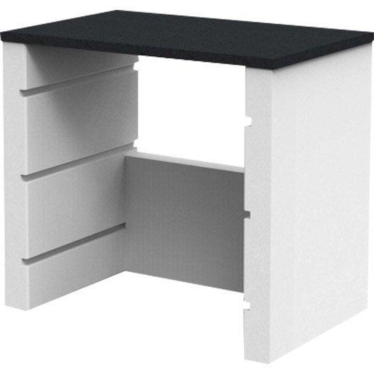plan de travail en pierre reconstitu e blanc isabelle x x cm leroy merlin. Black Bedroom Furniture Sets. Home Design Ideas
