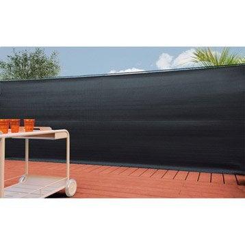 brise vue sans attache naterial occultation tiss e 100 gris x cm. Black Bedroom Furniture Sets. Home Design Ideas