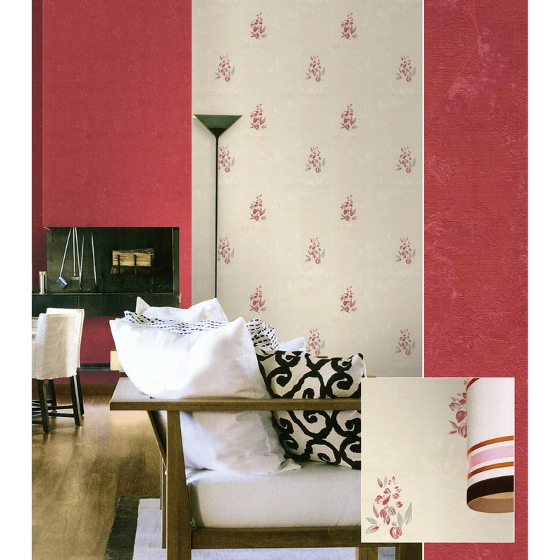 Papier Peint Vinyle Scala Rouge Leroy Merlin