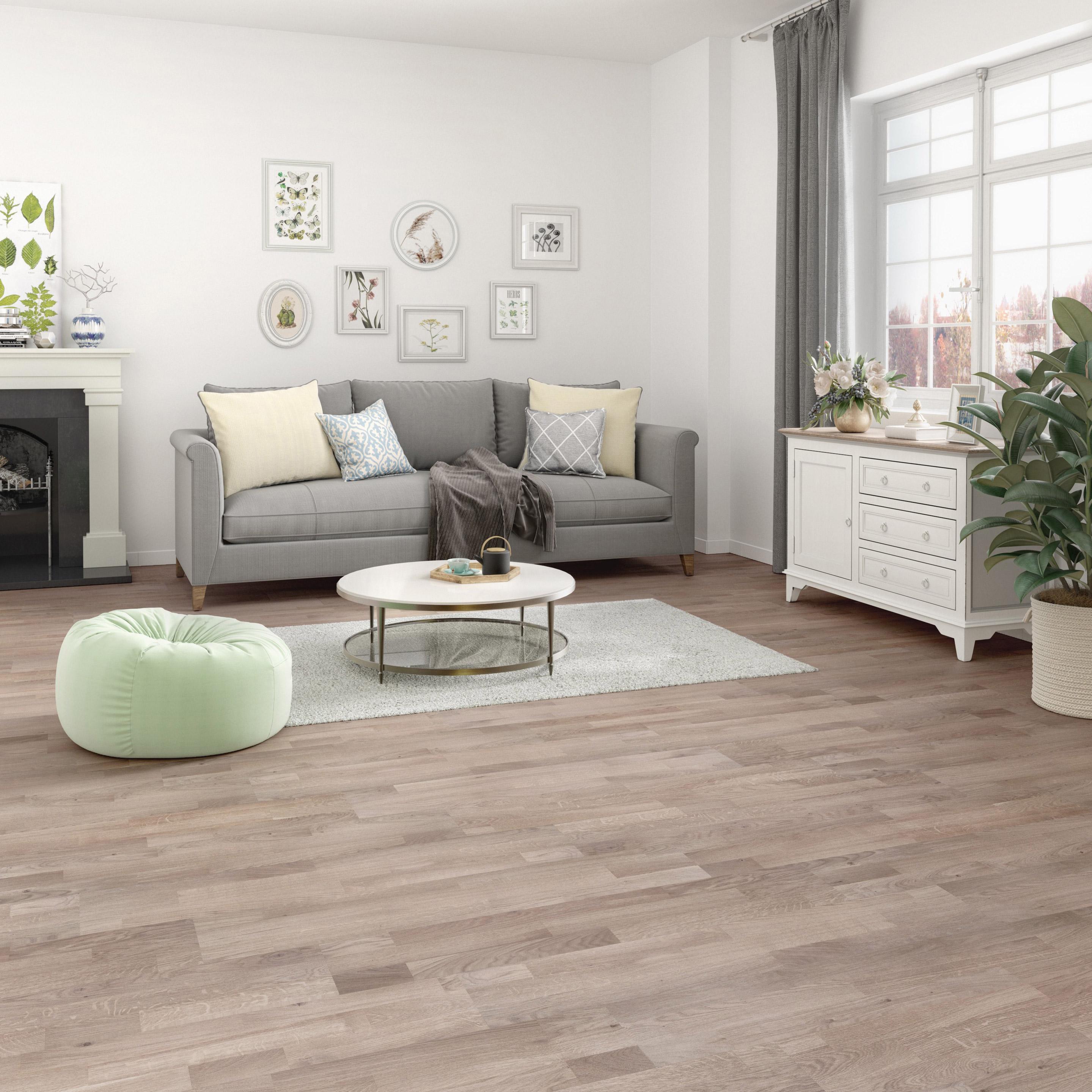 Parquet bois contrecollé medio chêne gris clair vitrifié S multifrise