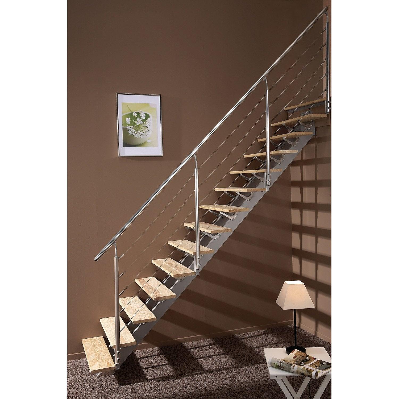 Escalier droit Escatwin structure aluminium marche bois | Leroy Merlin