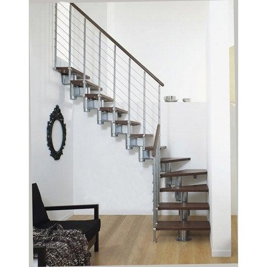 escalier long line pixima modulaire en bois et m tal 12 marches leroy merlin. Black Bedroom Furniture Sets. Home Design Ideas