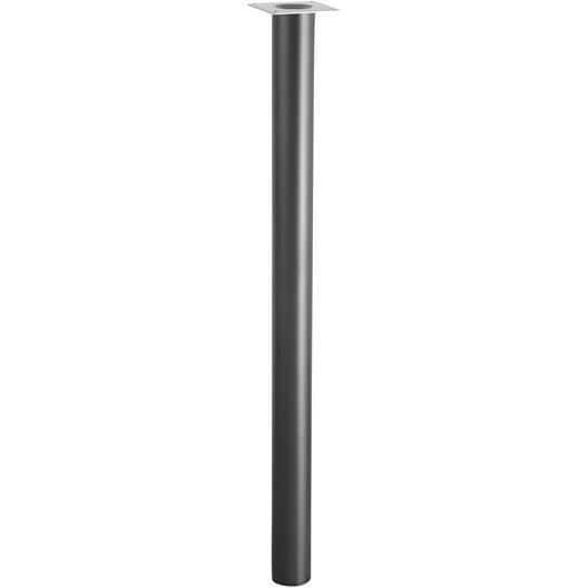lot de 4 pieds de table cylindrique fixes métal époxy noir, 71 cm