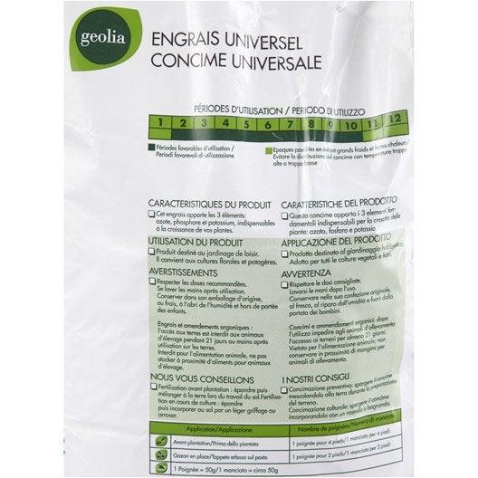 Engrais naturel universel GEOLIA 5kg 67 m²