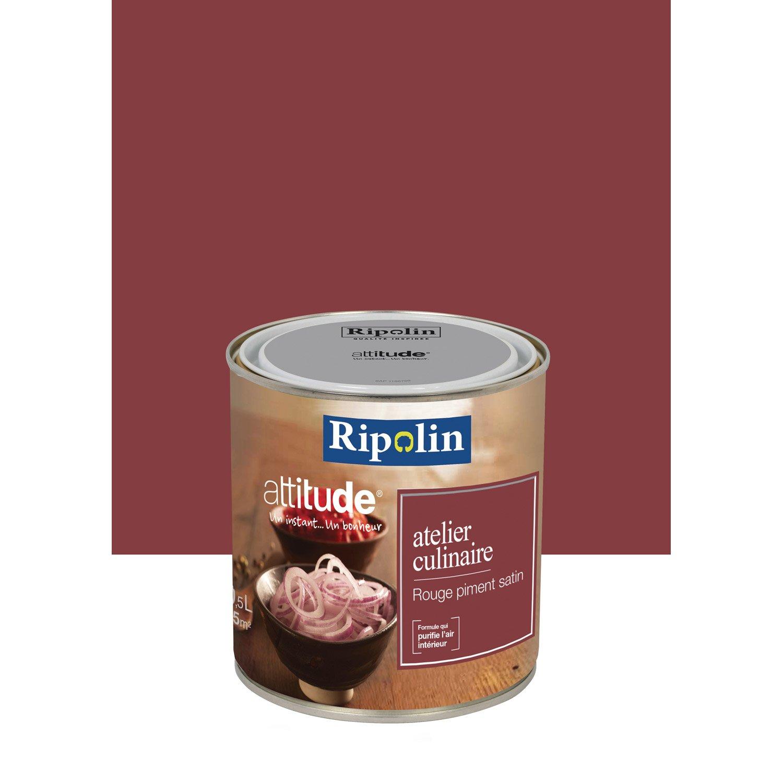 peinture rouge piment satin ripolin attitude atelier culinaire 0 5 l leroy merlin. Black Bedroom Furniture Sets. Home Design Ideas