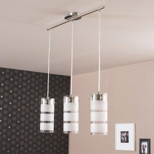 Suspension moderne olvero m tal blanc 3 x 7 w eglo leroy for Luminaire exterieur design leroy merlin