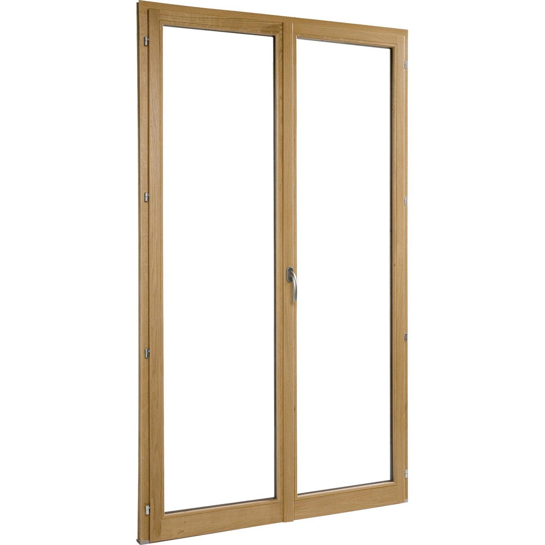 Porte fen tre bois brico essentiel 2 vantaux ouvrant la fran aise 215 x 120 cm leroy merlin - Porte fenetre bois 2 vantaux ...