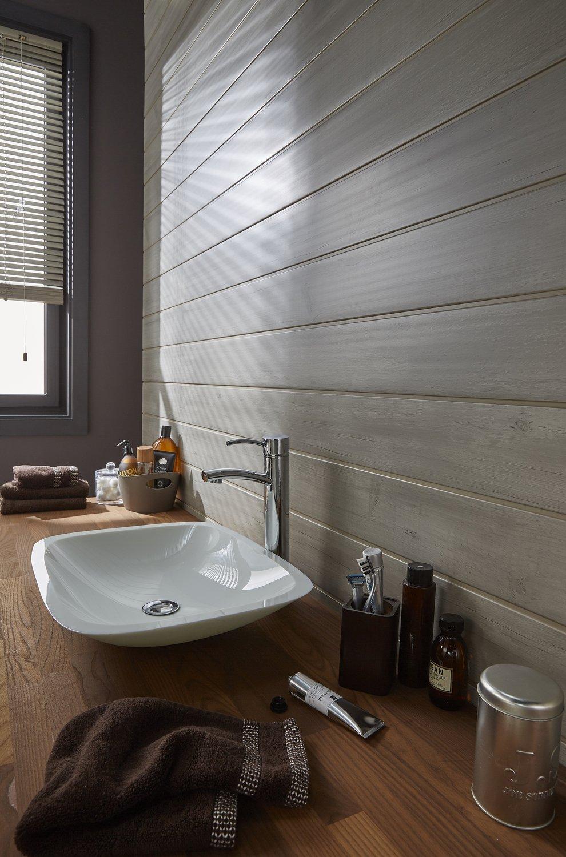 du lambris dans la salle de bains pour un effet zen leroy merlin. Black Bedroom Furniture Sets. Home Design Ideas