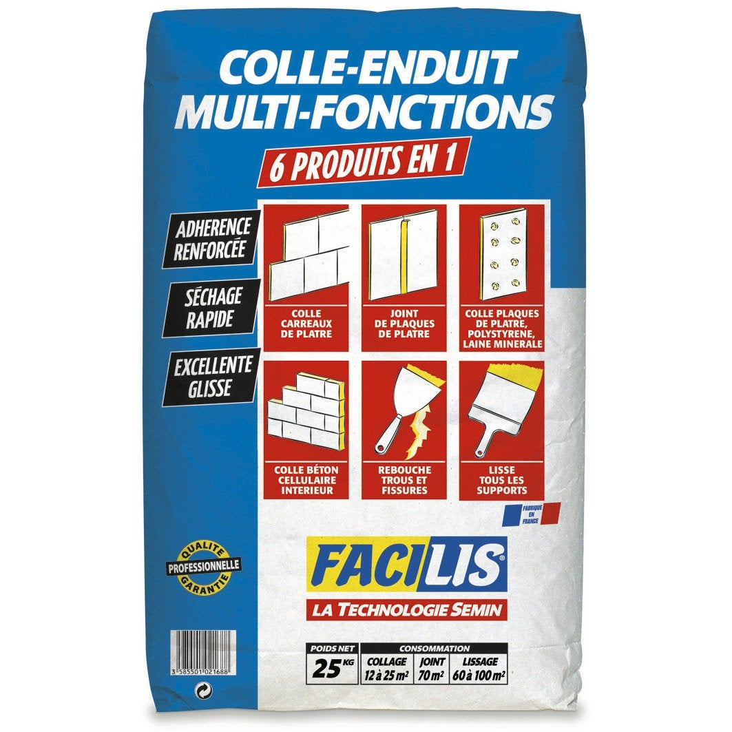 Enduit colle universel facilis 25 kg leroy merlin for Prix enduit m2 interieur